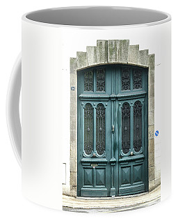 Green Door Coffee Mug by Helen Northcott