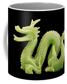 Coffee Mug featuring the photograph Green Dragon On Black by Bill Barber
