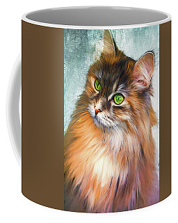 Green-eyed Maine Coon Cat - Remastered Coffee Mug