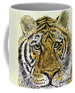 Green Eyed Tiger Coffee Mug by Laurie Rohner