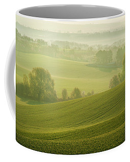 Coffee Mug featuring the photograph Green Foggy Waves by Jenny Rainbow