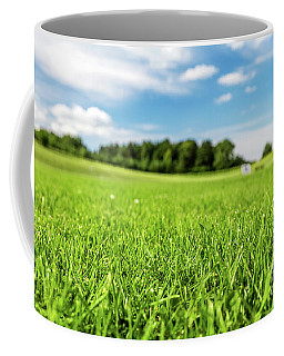 Green Golf Course With Blue Sky. Coffee Mug