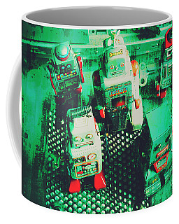 Green Grunge Comic Robots Coffee Mug