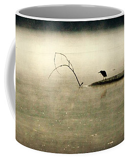 Green Heron In Dawn Mist Coffee Mug by Kathy Barney