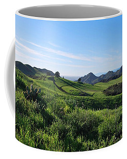 Coffee Mug featuring the photograph Green Hills Landscape With Cactus by Matt Harang