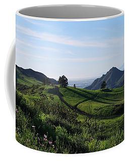 Coffee Mug featuring the photograph Green Hills Purple Flowers Foreground  by Matt Harang
