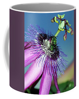 Green Hover Fly On Passion Flower Coffee Mug