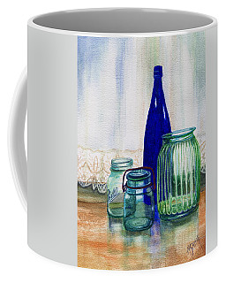 Coffee Mug featuring the painting Green Jars Still Life by Marilyn Smith