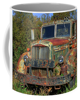 Coffee Mug featuring the photograph Green Mack Truck by Jerry Gammon