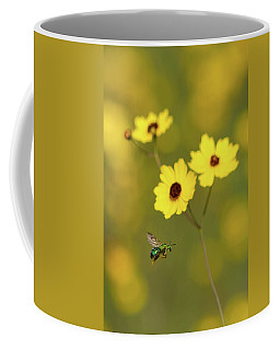 Green Metallic Bee Coffee Mug
