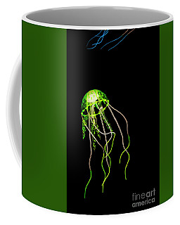 Green Neon Jellyfish Coffee Mug