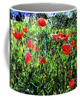 Green Pasture With Red Poppies Coffee Mug