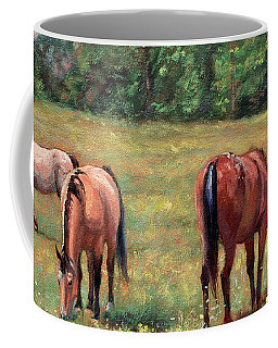 Green Pastures - Horses Grazing In A Field Coffee Mug