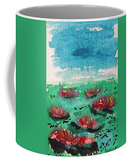Green Pond With Many Flowers Coffee Mug