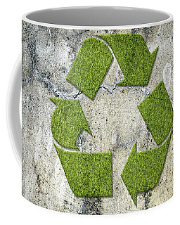 Green Recycling Sign On A Concrete Wall Coffee Mug by GoodMood Art