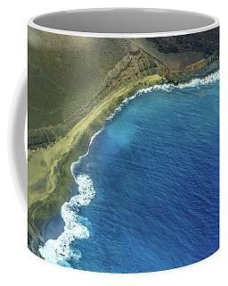Green Sand Beach Aerial Coffee Mug