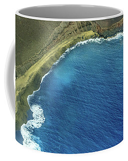 Green Sand Beach Aerial Coffee Mug