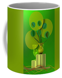 Green Still Life With Abstract Flowers, Coffee Mug
