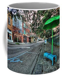 Green Umbrella Bus Stop Coffee Mug
