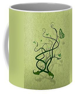 Green Vine And Butterfly Coffee Mug