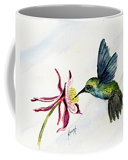 Coffee Mug featuring the painting Green Violet-ear Hummingbird by Sam Sidders