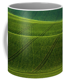 Coffee Mug featuring the photograph Green Waves Of Rolling Hills by Jenny Rainbow