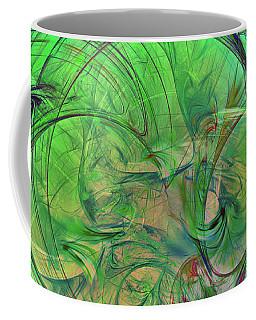 Coffee Mug featuring the digital art Green World Abstract by Deborah Benoit