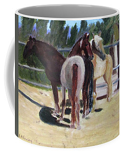 Coffee Mug featuring the painting Gregory And His Mares by Linda Feinberg