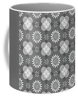 Grey Circles And Flowers Pattern Coffee Mug