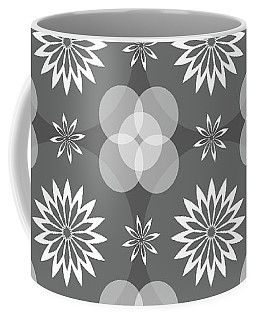 Grey Circles And Flowers Pattern Coffee Mug