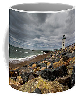 Grey Day At Scituate Lighthouse Coffee Mug