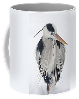 Grey Heron In The Snow Coffee Mug