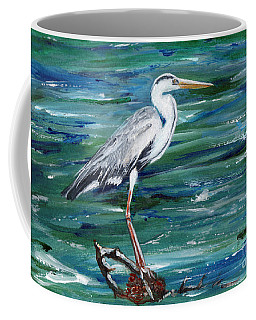 Grey Heron Of Cornwall -painting Coffee Mug