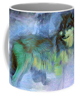 Grey Wolves In Snow Coffee Mug by Caito Junqueira