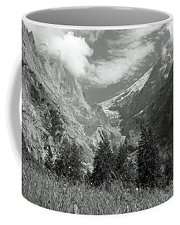 Grindelwald Glacier In Switzerland In Black And White Coffee Mug