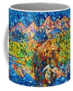Coffee Mug featuring the painting Grizzly Catch In The Tetons by Dan Sproul
