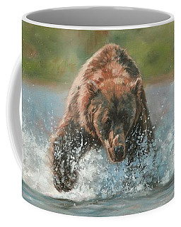 Grizzly Charge Coffee Mug by David Stribbling