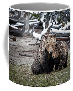 Grizzly Cub Cuddling With Mother Coffee Mug