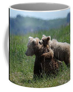 Grizzly  Mother And A Cub In Katmai National Park Coffee Mug