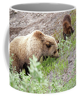 Grizzly Sow And Cubs Coffee Mug