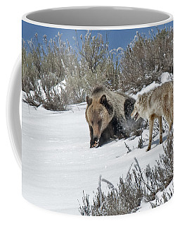 Grizzly With Coyote Coffee Mug