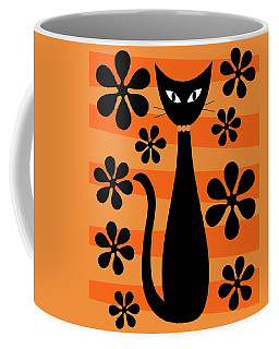 Coffee Mug featuring the digital art Groovy Flowers With Cat Orange And Light Orange by Donna Mibus