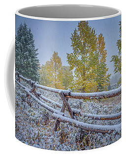 Coffee Mug featuring the photograph Gros Ventre Grand Teton Fall Snowfall Fence by Scott McGuire