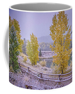 Coffee Mug featuring the photograph Gros Ventre Grand Teton Fall Snowfall by Scott McGuire