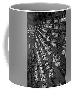 Grotto Of Our Lady Of Lourdes Candles Black And White  Coffee Mug