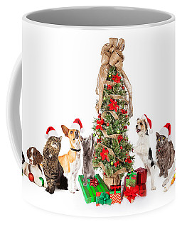 Group Of Cats And Dogs Around Christmas Tree Coffee Mug