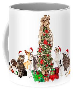 Group Of Cats And Dogs Around Christmas Tree Coffee Mug