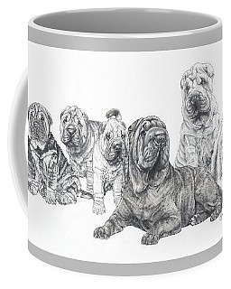 Coffee Mug featuring the drawing Growing Up Chinese Shar-pei by Barbara Keith