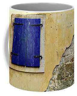 Groznjan Istrian Hill Town Stonework And Blue Shutters  - Istria, Croatia Coffee Mug