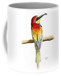 Coffee Mug featuring the painting Gruccione  - Bee Eater - Merops Apiaster by Raffaella Lunelli